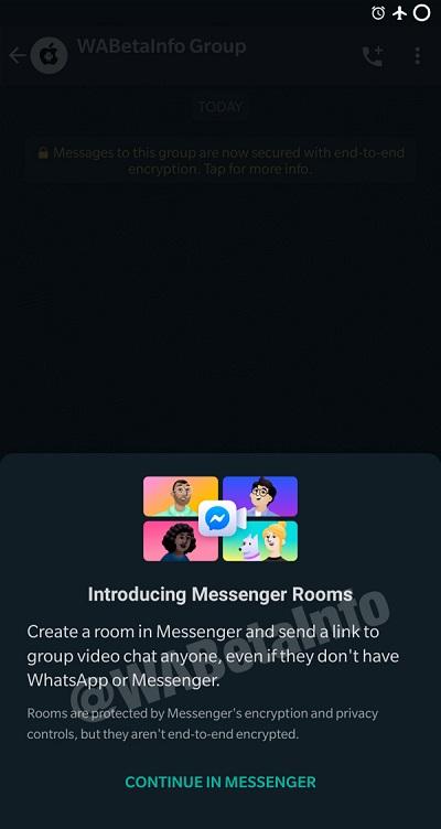 WhatsApp to get messenger room integration