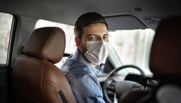 Driver wearing mask