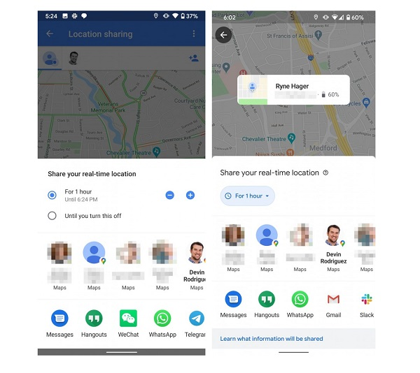 Google Maps Gets Updated Location Sharing UI
