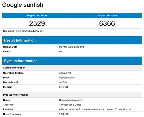 Google Pixel 4a Appears on Geekbench