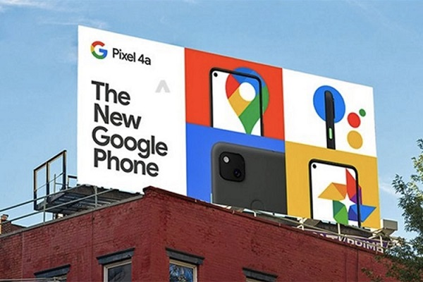 Google Pixel 4a on billboard