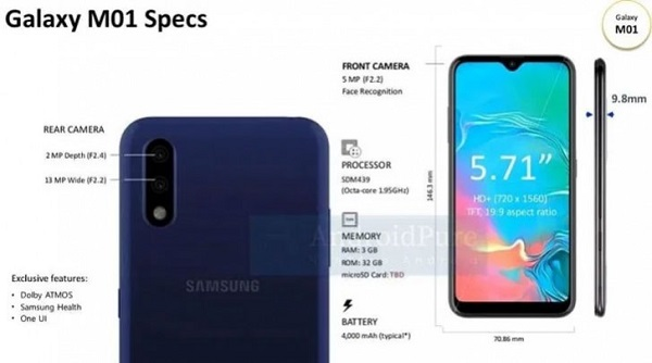 Samsung Galaxy M01 Specs