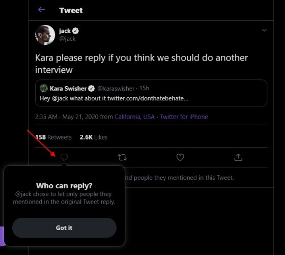 Twitter who can reply your conversation