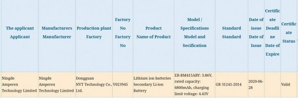 3C listing revealing Galaxy M41