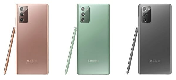 Samsung Galaxy Note20 in colors