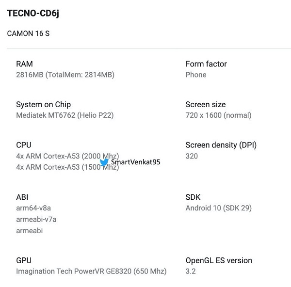 Tecno Camon 16S spotted On Google Play Listing