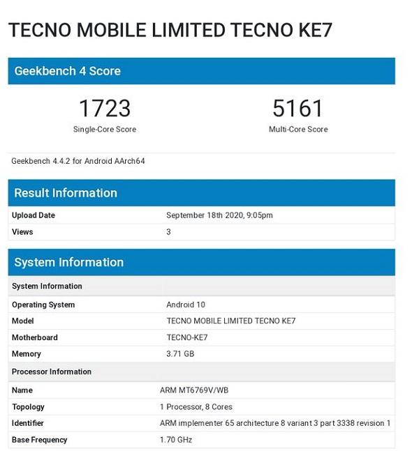 Tecno Spark 6 on Geekbench