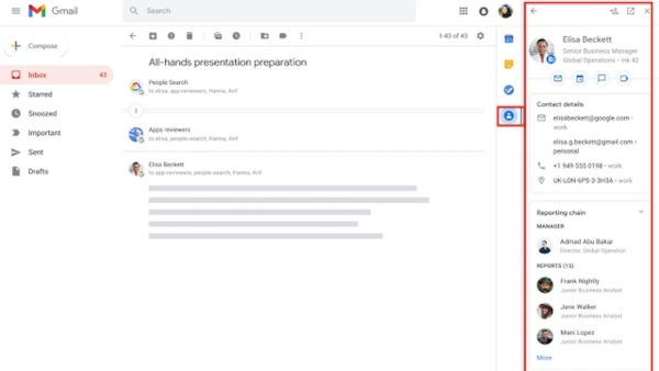 Gmail gets contact integration