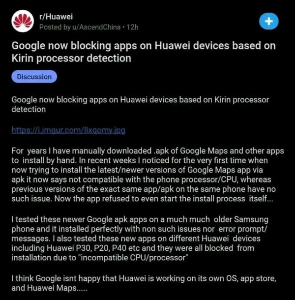 Google Has Completely Blocked Huawei Smartphones From Manually Install Apps