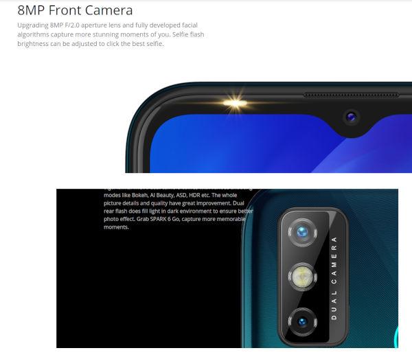 Tecno Spark 6 Go cameras