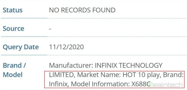 Infinix Hot 10 Play Appears On FCC