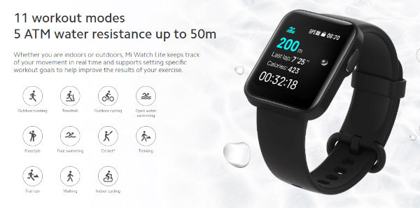 Mi Watch Lite specs and features