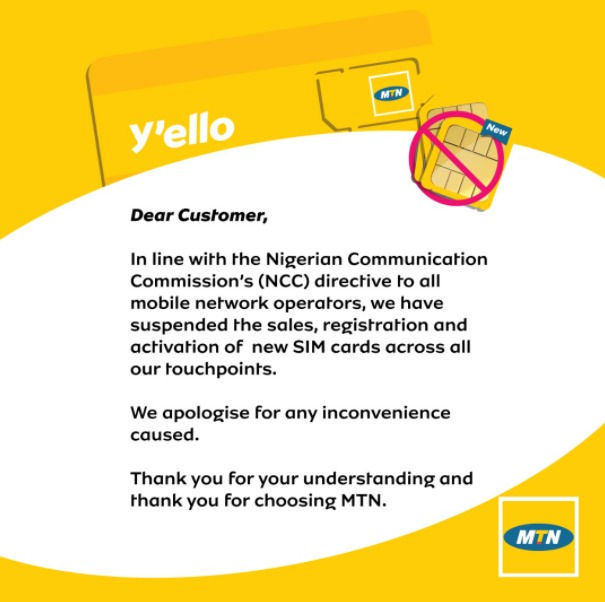NCC Suspends SIM Card Registration