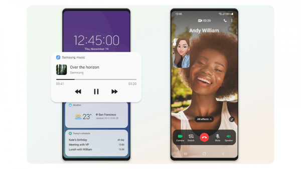 Widgets on the lockscreen • Edge to edge full screen video call layout