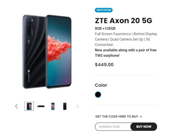 ZTE Axon 20 5G now available for purchase