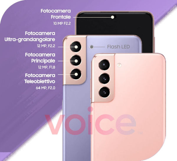 Leaked infographics with camera details for the Galaxy S21 and S21 plus