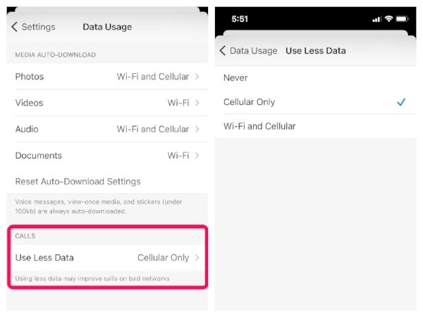Low Data Usage Settings for Calls