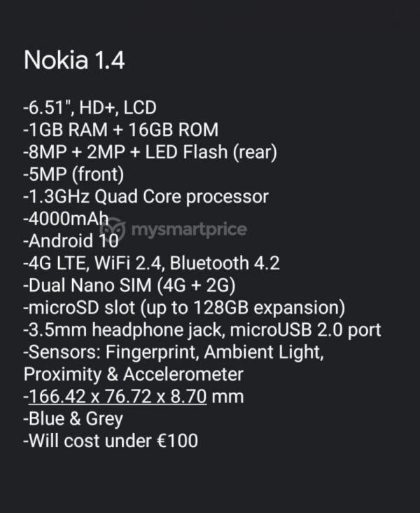Nokia 1.4 specs leaks