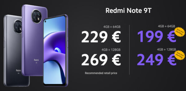 Redmi Note 9T Prices