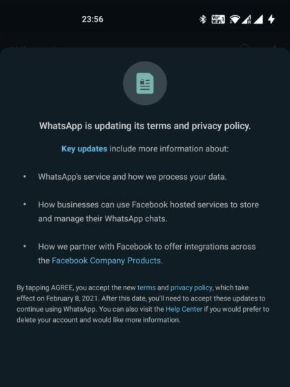 WhatsApp New Privacy Rule