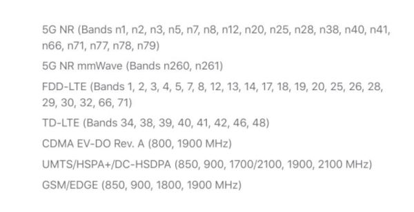 iPhone 12 5G Band Support in the US