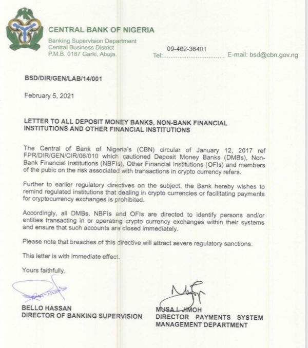 CBN Bans Banks From Cryptocurrency Business