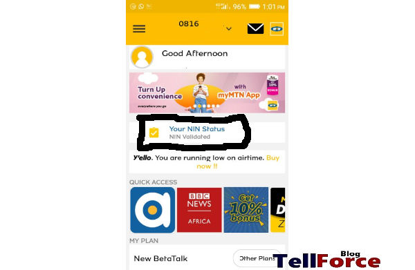 Confirmation Status Of Your NIN Submission On MTN