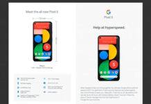 Google Pixel 5 on pixel site