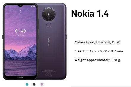 Nokia 1.4 specs