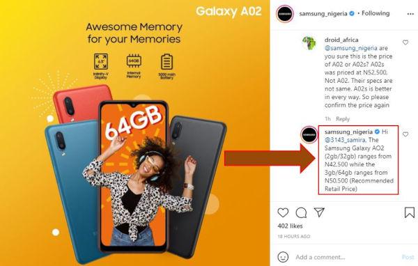 Samsung Galaxy A02 price in Nigeria