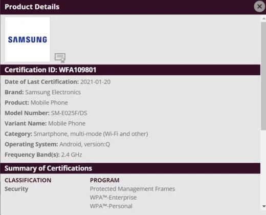 Samsung Galaxy E02 on Wi Fi Alliance and India BIS certifications