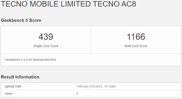 Tecno AC8 on GeekBench