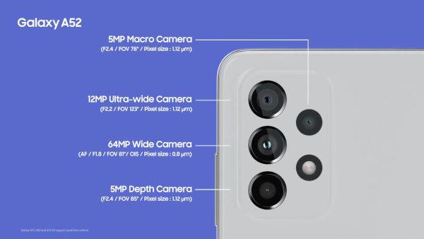 Samsung Galaxy A52 rear cameras