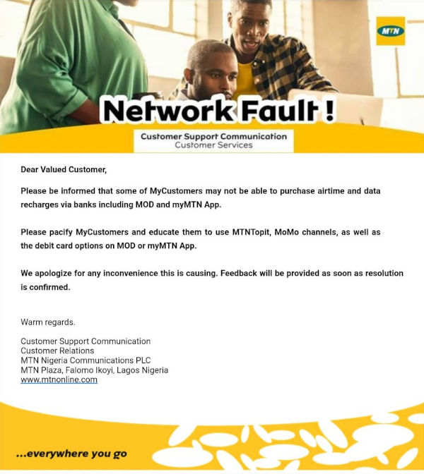 MTN Blocked its Subscribers From Buying Airtime Data Via USSD Code