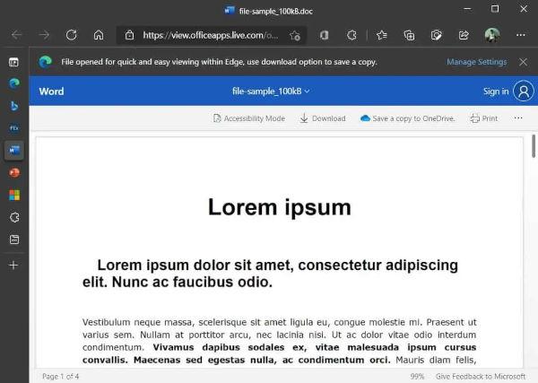 Microsoft Edge Browser Gets words Integration