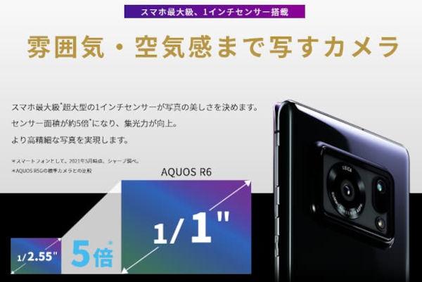 SHARP AQUOS R6 comes with single camera