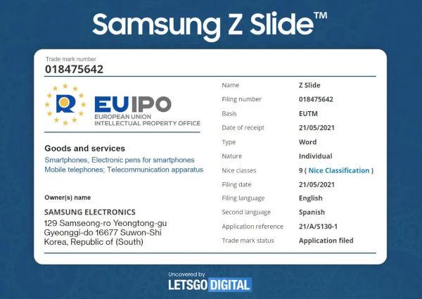 Samsung Galaxy Z Slide Smartphone trademarked 1