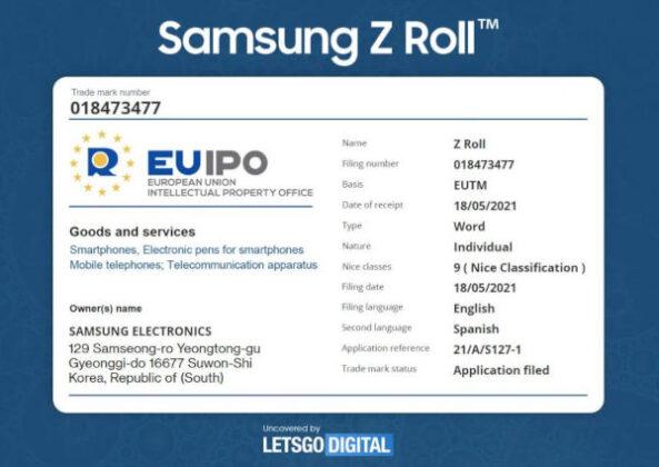 Samsung Galaxy Z Roll Smartphone trademarked