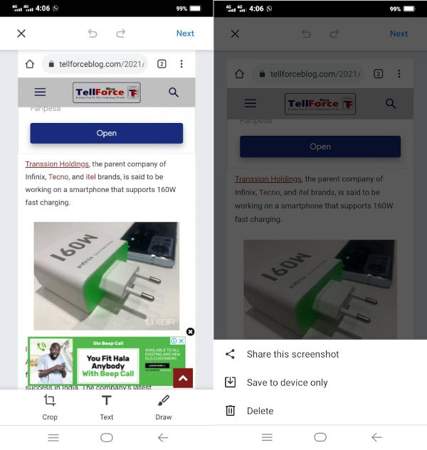 Google Chrome for Android Gets A New Built in Screenshot Tool 1