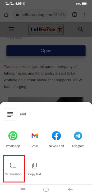 Google Chrome for Android Gets A New Built in Screenshot Tool