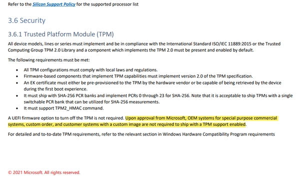 Microsoft will allow certain OEMs to bypass the TPM requirement
