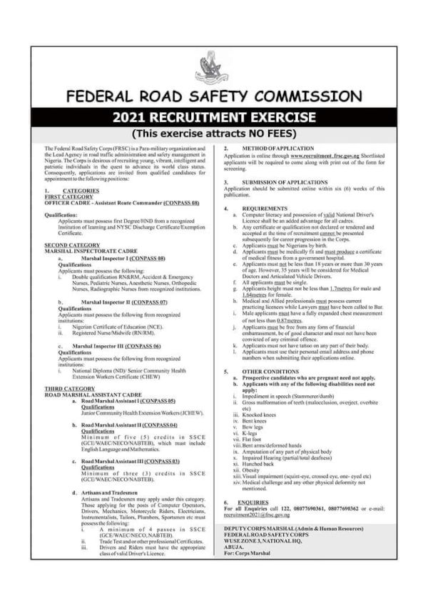 Federal Road Safety Corps recruitment 2021
