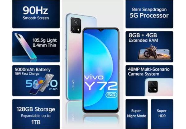 Vivo Y72 5G India specs
