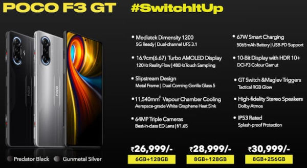 Xiaomi POCO F3 GT Price