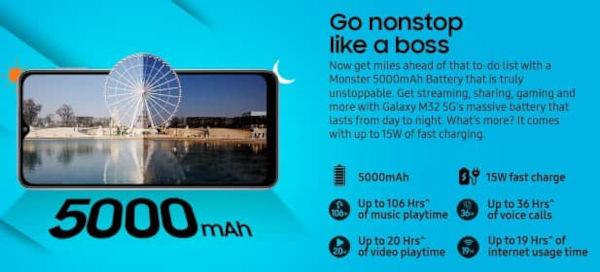 Samsung Galaxy M32 5G battery
