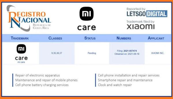 Xiaomi Mi Care Services