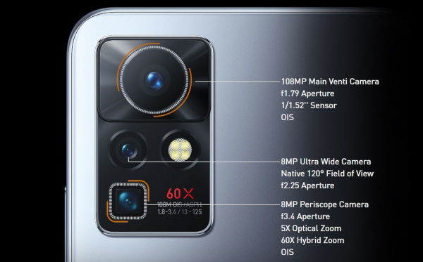 Infinix Zero X Pro camera setup with 108 MP main 5x periscope and 120o ultra wide