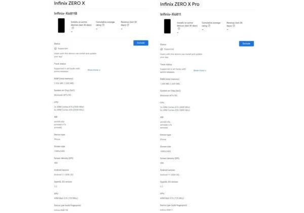 Infinix Zero X amd Zero X Pro key specs appears on Google Play Console