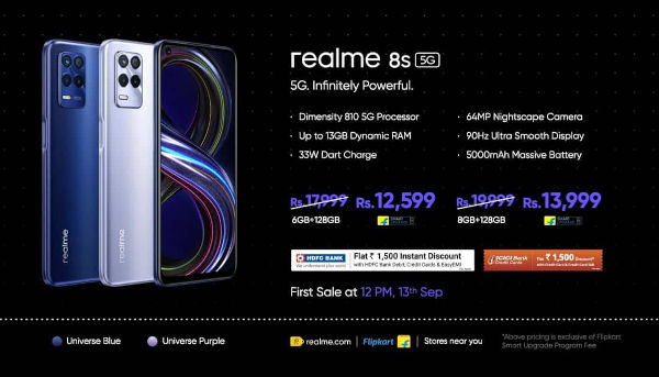 Realme 8s 5G price and color options