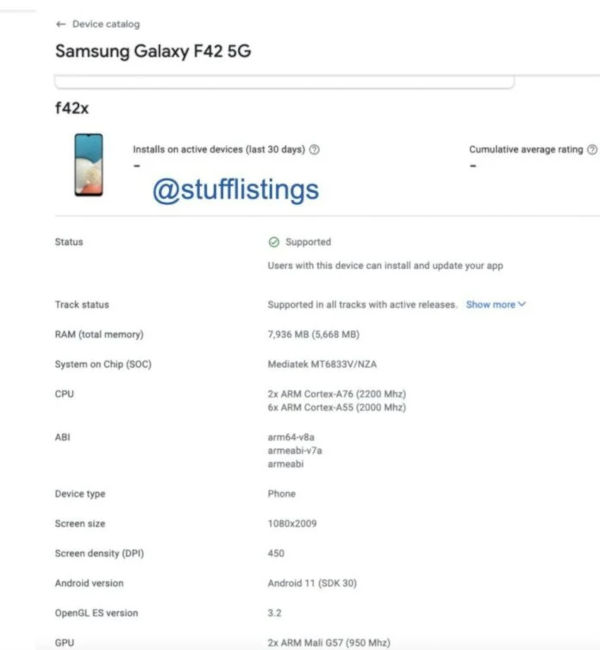 Samsung Galaxy F42 5G appears on Google Play Console